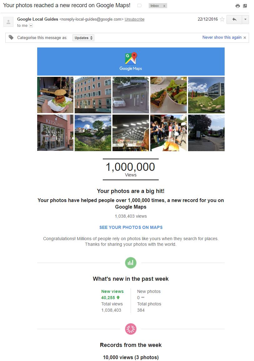Google Maps Photos Benachrichtigung über eine Million Views
